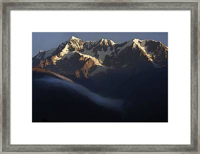 The Mountain Illimani. Republic Of Bolivia. Framed Print by Eric Bauer