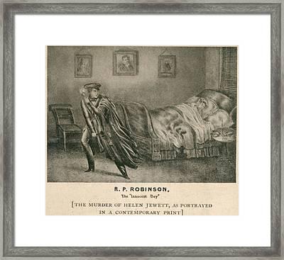 The Murder Of Helen Jewett In 1836 Framed Print by Everett