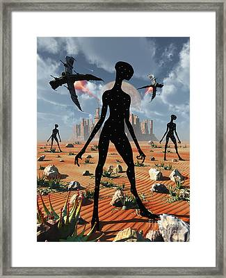 The Mysterious Black Shape Of Beings Framed Print