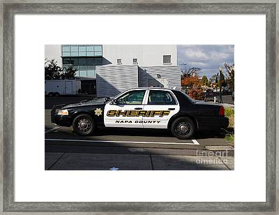 The Napa County Sheriff Car In Napa California Wine Country Framed Print by Wingsdomain Art and Photography