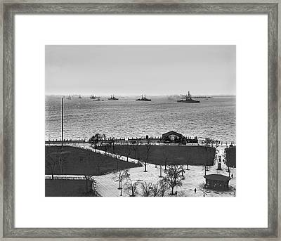 The Navy Fleet In New York Bay Framed Print