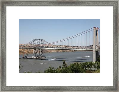 The New Alfred Zampa Memorial Bridge And The Old Carquinez Bridge . 5d16734 Framed Print