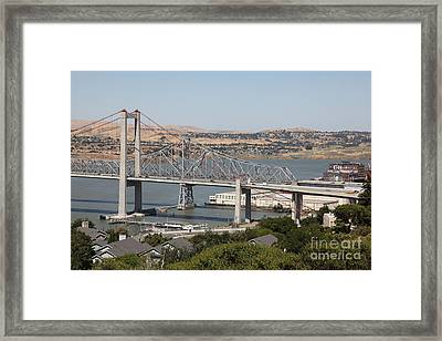 The New Alfred Zampa Memorial Bridge And The Old Carquinez Bridge . 5d16747 Framed Print
