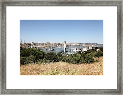 The New Alfred Zampa Memorial Bridge And The Old Carquinez Bridge . 5d16748 Framed Print