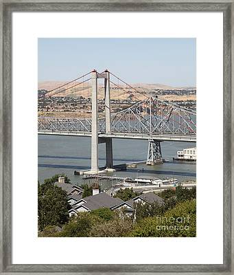 The New Alfred Zampa Memorial Bridge And The Old Carquinez Bridge . 5d16749 Framed Print by Wingsdomain Art and Photography