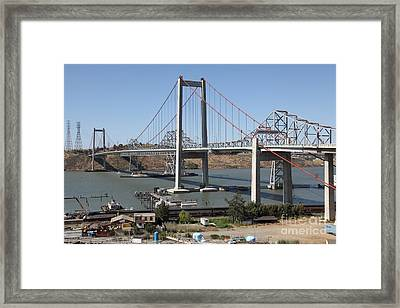 The New Alfred Zampa Memorial Bridge And The Old Carquinez Bridge . 5d16806 Framed Print