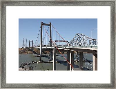 The New Alfred Zampa Memorial Bridge And The Old Carquinez Bridge . 5d16815 Framed Print