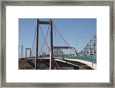 The New Alfred Zampa Memorial Bridge And The Old Carquinez Bridge . 5d16823 Framed Print