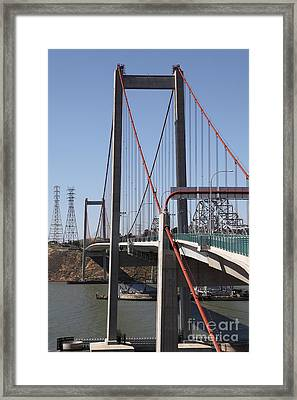 The New Alfred Zampa Memorial Bridge And The Old Carquinez Bridge . 5d16824 Framed Print