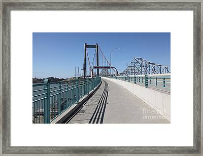The New Alfred Zampa Memorial Bridge And The Old Carquinez Bridge . 5d16831 Framed Print