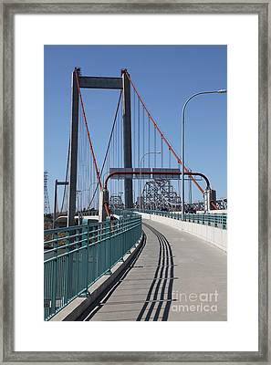 The New Alfred Zampa Memorial Bridge And The Old Carquinez Bridge . 5d16833 Framed Print