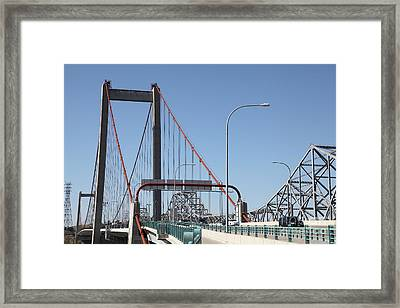 The New Alfred Zampa Memorial Bridge And The Old Carquinez Bridge . 5d16835 Framed Print