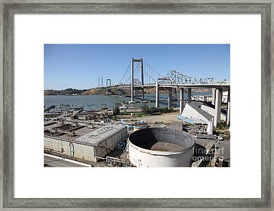 The New Alfred Zampa Memorial Bridge And The Old Carquinez Bridge . 5d16843 Framed Print