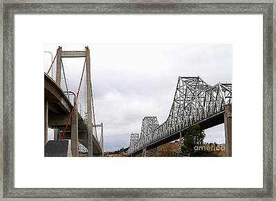 The New Alfred Zampa Memorial Bridge And The Old Carquinez Bridge . 7d8830 Framed Print by Wingsdomain Art and Photography