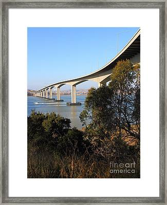 The New Benicia-martinez Bridge Across The Carquinez Strait In California . 7d10437 Framed Print by Wingsdomain Art and Photography