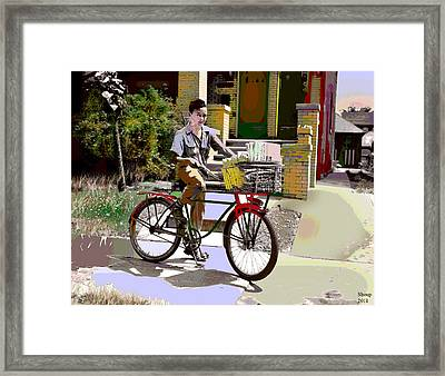 Framed Print featuring the mixed media The Newspaper Boy by Charles Shoup