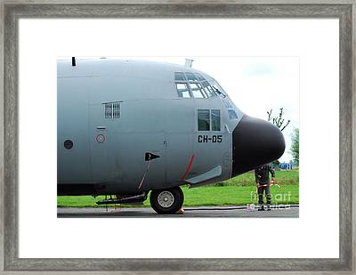 The Nose Of A Hercules C-130 Airplane Framed Print by Luc De Jaeger