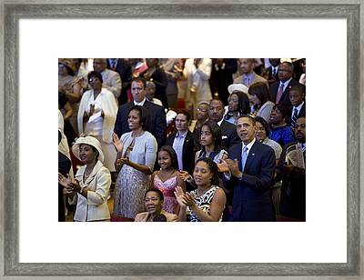 The Obama Family Attend An Easter Framed Print by Everett