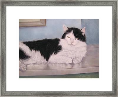 The Office Cat Framed Print by Teresa LeClerc