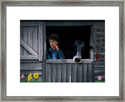 The Old Bell Cow Framed Print