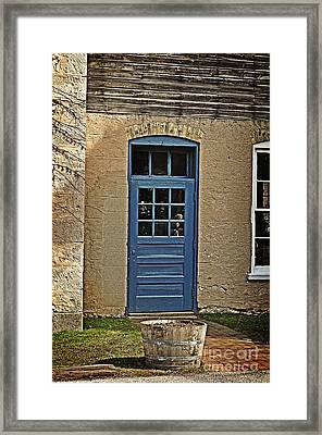 The Old Blue Door Framed Print by Mary Machare