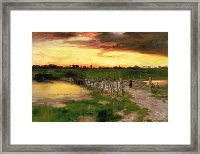 The Old Bridge Over Hook Pond Framed Print by Thomas Moran