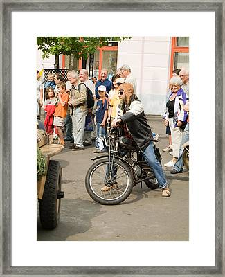 The Old Motorcycle And Man Framed Print by Odon Czintos