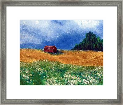 The Old Red Barn Framed Print by Alys Caviness-Gober