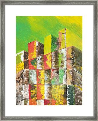 The Old Stack Of Wood Framed Print by Roy Penny