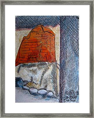 The Old Stone Wall Tuscon Framed Print