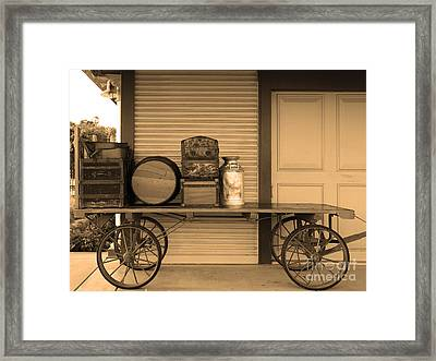The Old Train Depot  - 5d18420 - Sepia Framed Print by Wingsdomain Art and Photography