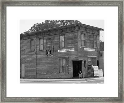 The Oldest Drugstore Framed Print by Judy Wanamaker