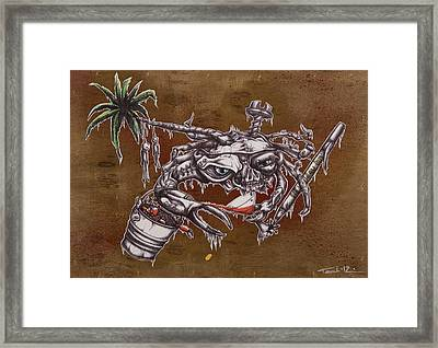 The One Who Escapes The Bucket Often Toasts With The Wicked Framed Print by Tai Taeoalii