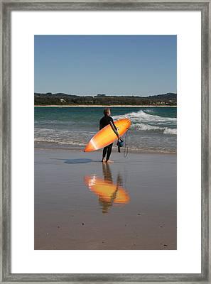 The Orange Surfboard Framed Print by Jan Lawnikanis