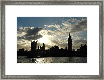 The Outline Of Big Ben And Westminster And Other Buildings At Sunset Framed Print