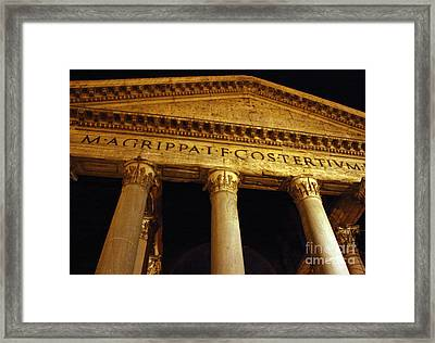 The Pantheon At Night Framed Print by Kent Nickell