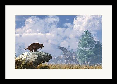 Rhinocerus Digital Art Framed Prints