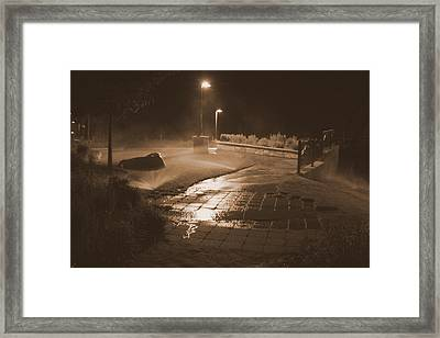 The Park At Night Framed Print by Artist Orange