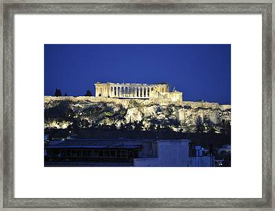 The Parthenon At Night Framed Print by MaryJane Armstrong