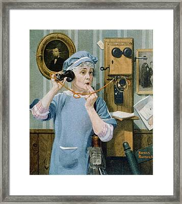 The Party Line. Norman Rockwells 1919 Framed Print by Everett