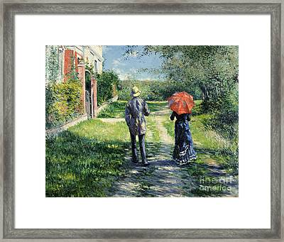 The Path Uphil Framed Print by Gustave Caillebotte