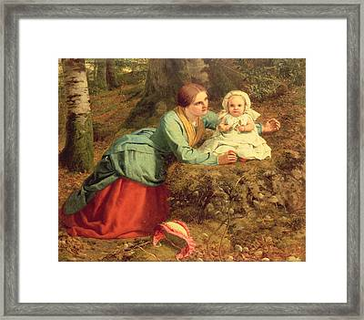 The Path Where The Brown Leaves Are Spread Framed Print by Frederick Richard Pickersgill