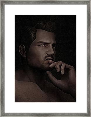 The Pensive Man - Cracked Colour Framed Print
