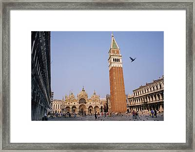 The Piazza San Marco Is The Focal Point Framed Print by O. Louis Mazzatenta