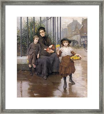 The Pinch Of Poverty Framed Print by Thomas Benjamin Kennington
