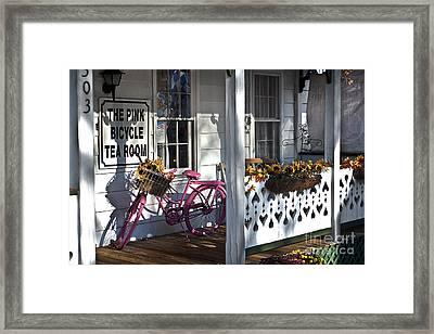 The Pink Bicycle Tea Room Framed Print by Jane Brack