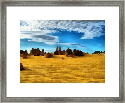 Framed Print featuring the digital art The Pinnacles Nambung National Park by Roberto Gagliardi