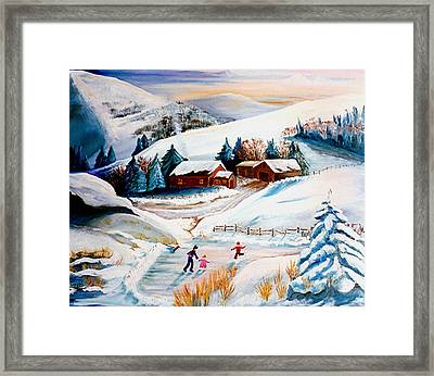 The Pond In Winter Framed Print