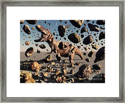 The Powerful T-rex Shatters Its Rock Framed Print by Mark Stevenson