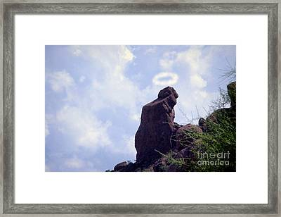 The Praying Monk With Halo - Camelback Mountain - Painted Framed Print by James BO  Insogna